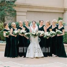 Wholesale Green Bridesmaid Dresses Long Mermaid Velvet Maid Of Honor Party Gown Plus Size Best Women Formal Dress Cheap