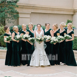 Wholesale Green Bridesmaid Dresses Long Mermaid Velvet Maid Of Honor Party Gown Plus Size Best Women Formal Dress Cheap
