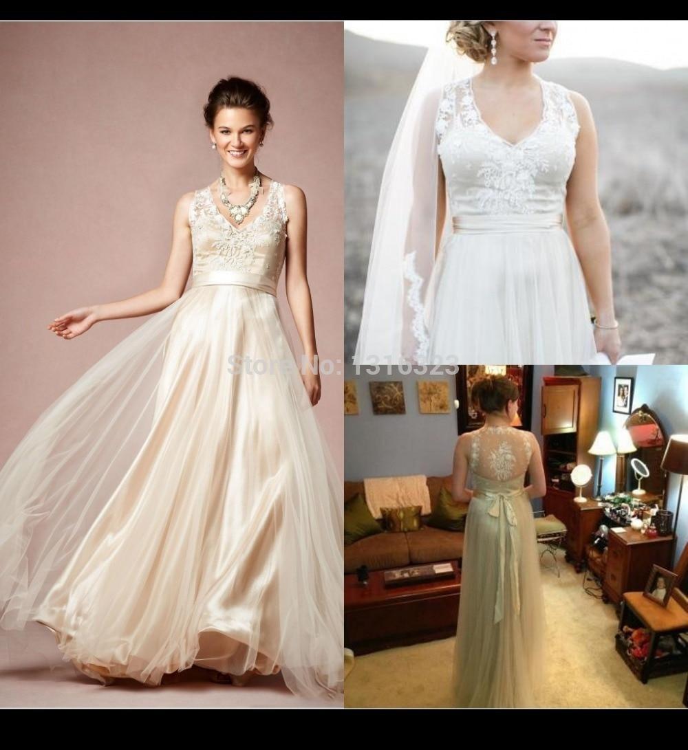 2019 Gorgeous Wedding Dresses Vestido De Noiva V Neck Wedding Dress Lace Tulle Illusion Neckline Beach Sheer Bridal Gowns