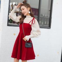 Женское платье Sukienki бархатное с длинным рукавом прозрачное Сетчатое платье с высокой талией плиссированное платье Черное Красное платье из двух частей LJ207