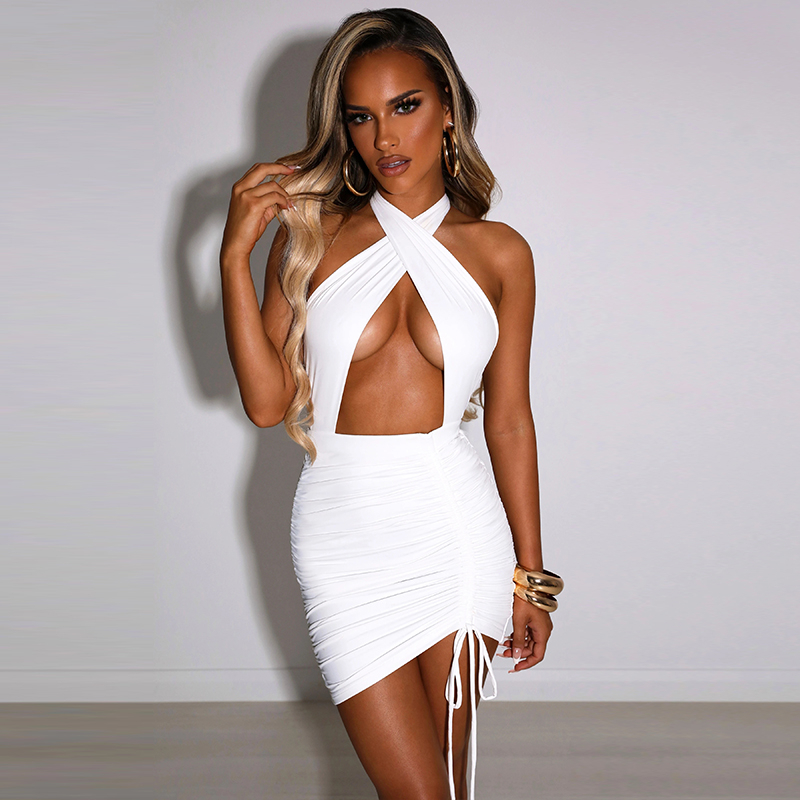 Fashionsta Sexy Criss Cross Neck With Tie Up Mini Dress Solid Hollow Out Halter Dress Party Club Dresses Summer Bodycon Vestidos 7