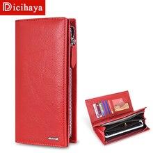 Женский кошелек DICIHAYA 2020 из натуральной кожи с RFID блокировкой, функциональный кошелек на молнии, длинный держатель для карт, Дамский кошелек, Сумочка для телефона