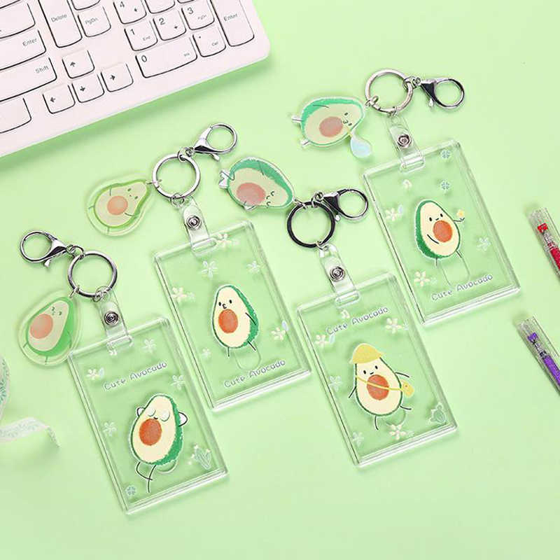 1 Pcs Cute Fruit Avocado Peach Transparent Bank Credit ID Card Holders Cover Women Travel Credit Bus Keychain Wallet Stationery
