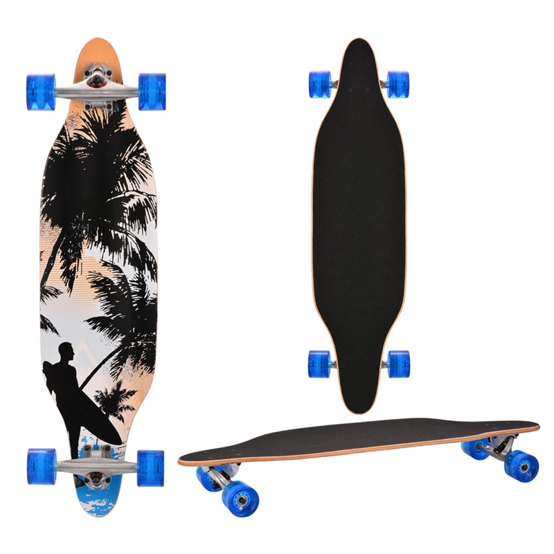 Nuevo fresco 4 ruedas tabla larga Skateboard deporte impreso Arce carbono acero Longboard adulto estudiante calle estilo Tabla de patín - 2