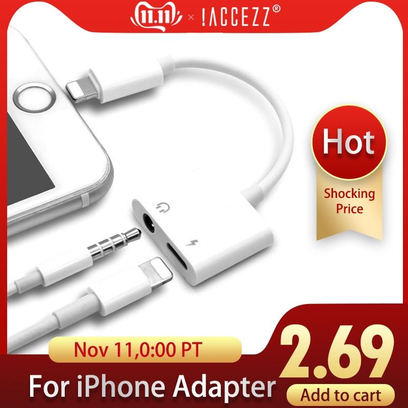 ! Access zz 2 en 1 chargeur d'éclairage adaptateur d'écoute pour iphone X 7 adaptateur de charge 3.5mm Jack AUX répartiteur adaptador pour iphone