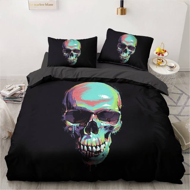 3D SKULL THEMED BEDDING SETS (18 VARIAN)