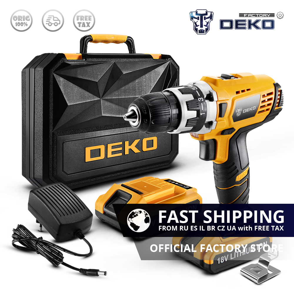 Factory Outlet DEKO GCD18DU2 18V Lithium Battery Electric Screwdriver Wireless Mini Power Driver Variable Speed Cordless Drill
