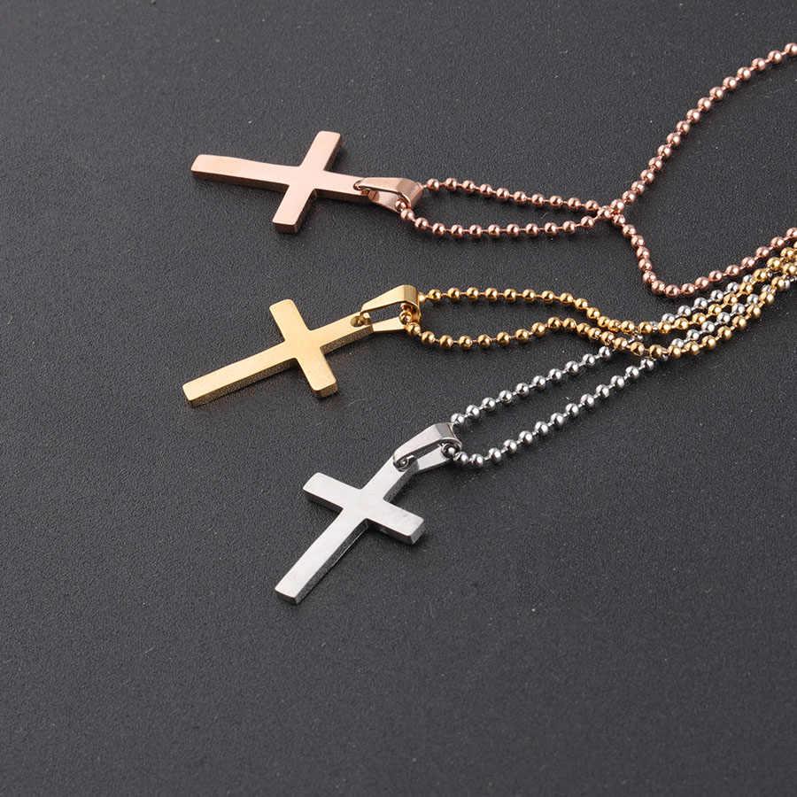 Fnixtar wisiorek z krzyżem dla mężczyzn kobiety biżuteria ze stali nierdzewnej mężczyzna kobieta modlitwa naszyjniki 5 sztuk/partia