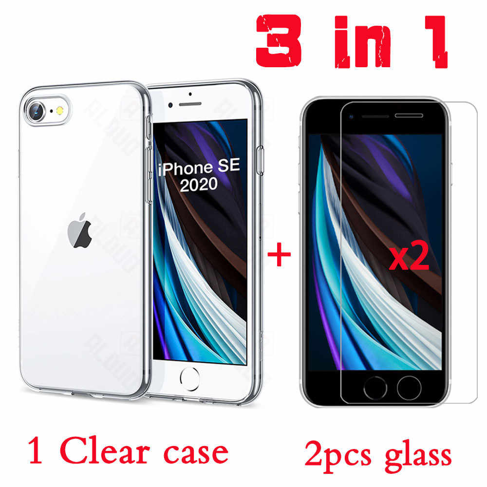 3 In 1 Gehard Glas Voor Iphone Se 2020 Case Op Iphone 11 Pro Max Glas Case Cover Voor Iphone xr Xs Max 6S 7 8 Plus 11 Case