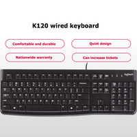 Logitech-teclado con cable ultrafino K120, 104 teclas, de escritorio, PC, ordenador portátil, USB, para Windows clavier klawiatura