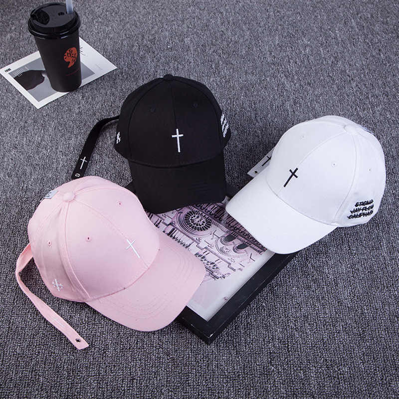 Mannen Borduren Cross Riem Baseball Cap Zwart Brief Snapback Hoed Pet Casual Katoen Cross Pet Bone Streetwear