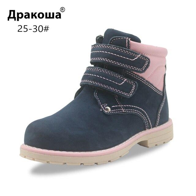 Apakowa filles classique en cuir Martin bottes enfants crochet et boucle mode bottines avec fermeture éclair anti dérapant haut chaussures de marche
