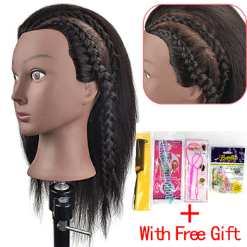 """Afro Mannequin Head 100% Real Hair Hairdresser Training Head Manikin Doll Head for Hairstyle Hairdressing Cosmetology Salon Tool alileader 26"""" synthetic blonde black hair training mannequin head cosmetology hair salon hairdressing practice doll manikin head"""