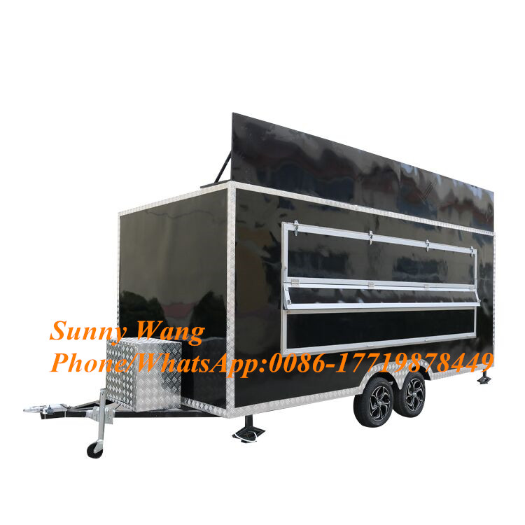 Customized black food truck mobile food cart fast food trailer kitchen trailer/ vans/ shopping carts Food Processors    - title=