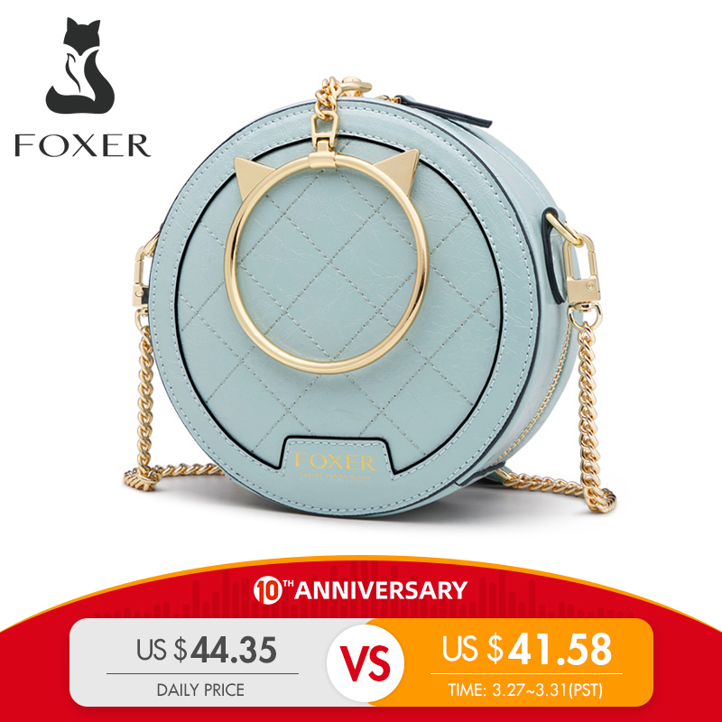 FOXER Women Mini Crossbody Bag Elegant Small Tote Female Leather Round Handbag Fashion Style Lady Round Clutch Messenger Bags