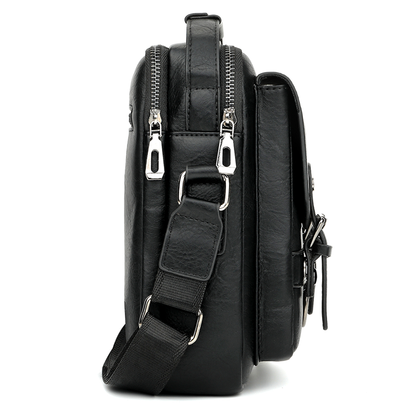 Image 3 - Alena Culian New Casual Leather Mens Business Messenger Bag  Zipper Hasp Design Open Handbags For Men Black Flap Shoulder  BagsCrossbody Bags