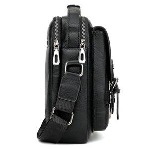 Image 3 - Alena Culian yeni rahat deri erkek iş askılı çanta fermuar çile tasarım açık çanta erkekler için siyah kapak omuz çantaları