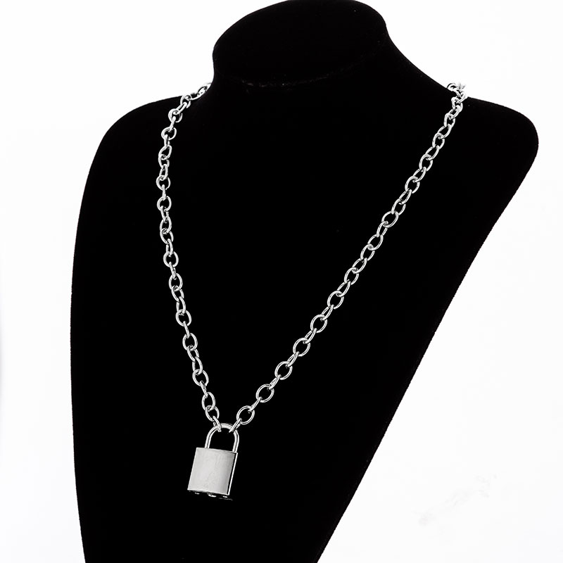 H36873200b4d845ed9fd0168351278a82u - KMVEXO Multilayer Lock Chain Necklace Punk Padlock Key Pendant Necklace Women Girl Fashion Gothic Party Jewelry