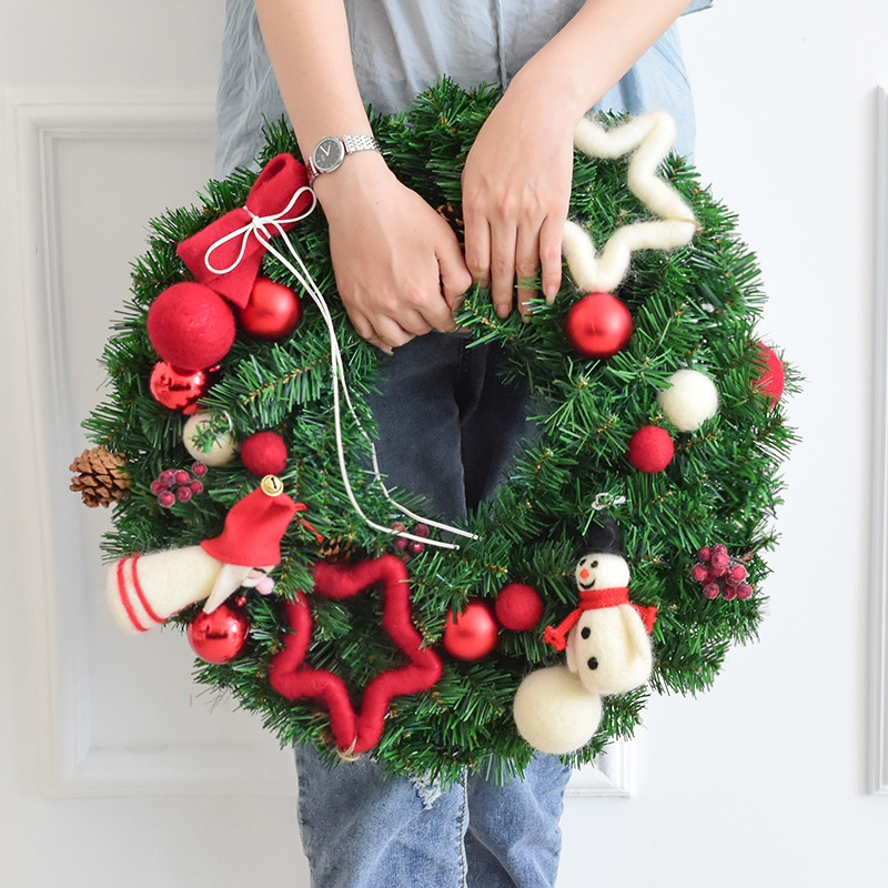 30/40cm Handmade Christmas Wreath Rattan Pendant Garland Shopping Mall Christmas Tree Door Decoration Advent Wreath Navidad