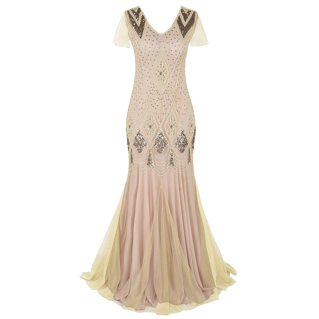 38# Women's Dress Ladies Fashion Simple Casual Retro 1920s Beaded Tassel Sequins Lace Party Flap Cocktail  Dress