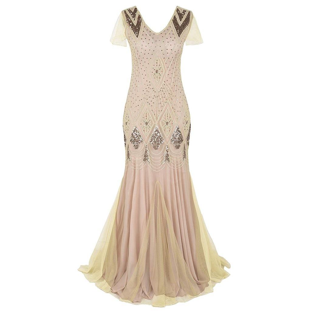 38# Women's Dress Ladies Fashion Simple Casual Retro 1920s Beaded Tassel Sequins Lace Party Flap Cocktail  Dress