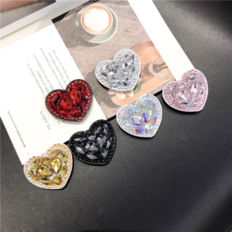Universal Love Snape  Phone Socket  Expanding Stents Finger Ring Phone Holder Bling Air Bag Diamond Love For SmartPhone Stander
