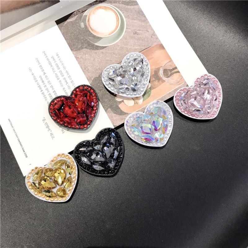 Universal Love Snape  Phone Socket  Expanding Stents Finger Ring Phone Holder Bling Air Bag Diamond Love For SmartPhone Stander