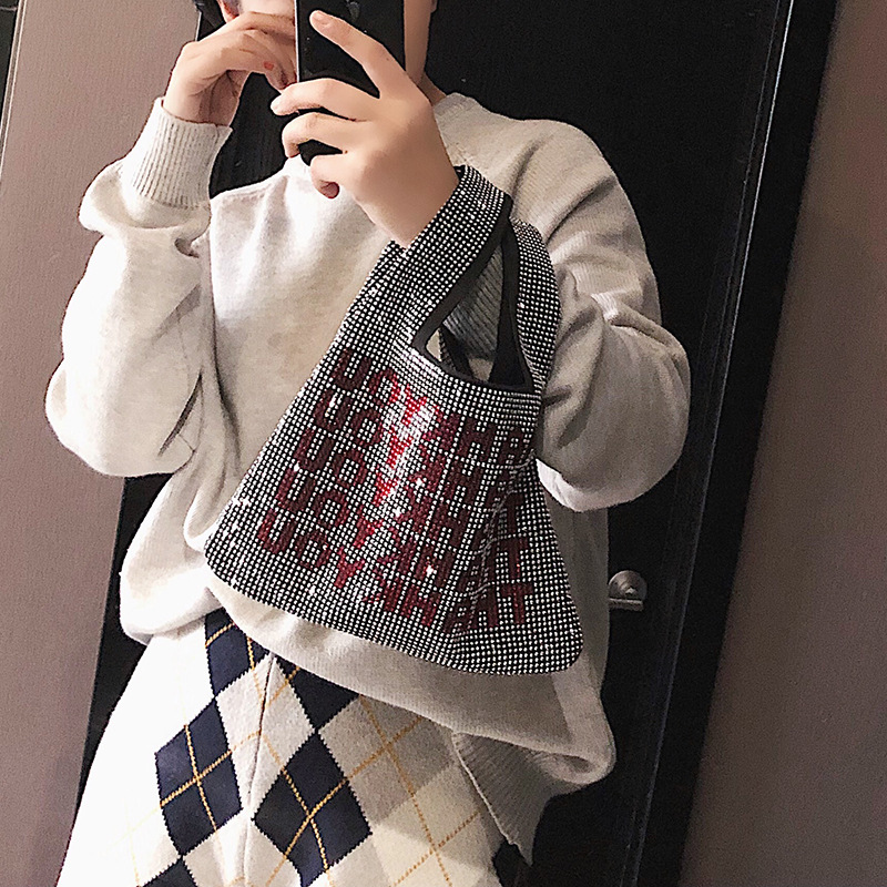 19 New Style King Rhinestone Bag Am Tang Yan Alu Small Static Celebrity Style Thankyou Man-made Diamond Bling Lettered Handbag