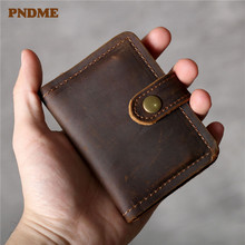 PNDME high quality simple crazy horse leather vintage handmade waterproof genuine small designer business card holder