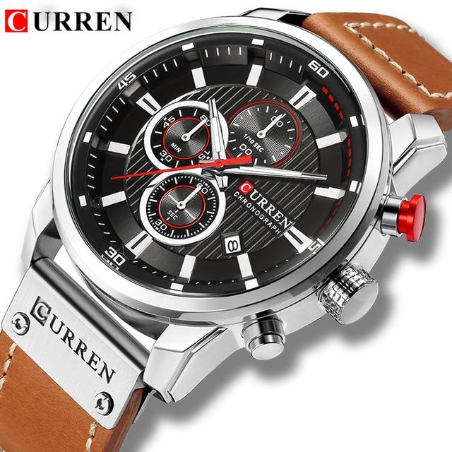 CURREN montre bracelet de Sport pour hommes, nouvelle marque, bonne qualité, bracelet en cuir, à Quartz, nouvelle collection