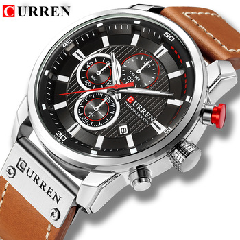 New Watches Men Luxury Brand CURREN Chronograph Sport High Quality Leather Strap Quartz Wristwatch Relogio Masculino - discount item  47% OFF Men's Watches