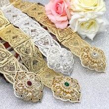 SUNSPICE MS ceinture en métal pour femmes, style floral, Caftan marocain, bijoux de mariage, longueur ajustable, couleur or argent