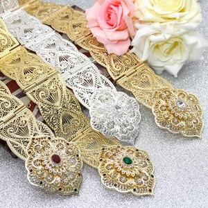 Image 1 - SUNSPICE MS ceinture en métal pour femmes, style floral, Caftan marocain, bijoux de mariage, longueur ajustable, couleur or argent