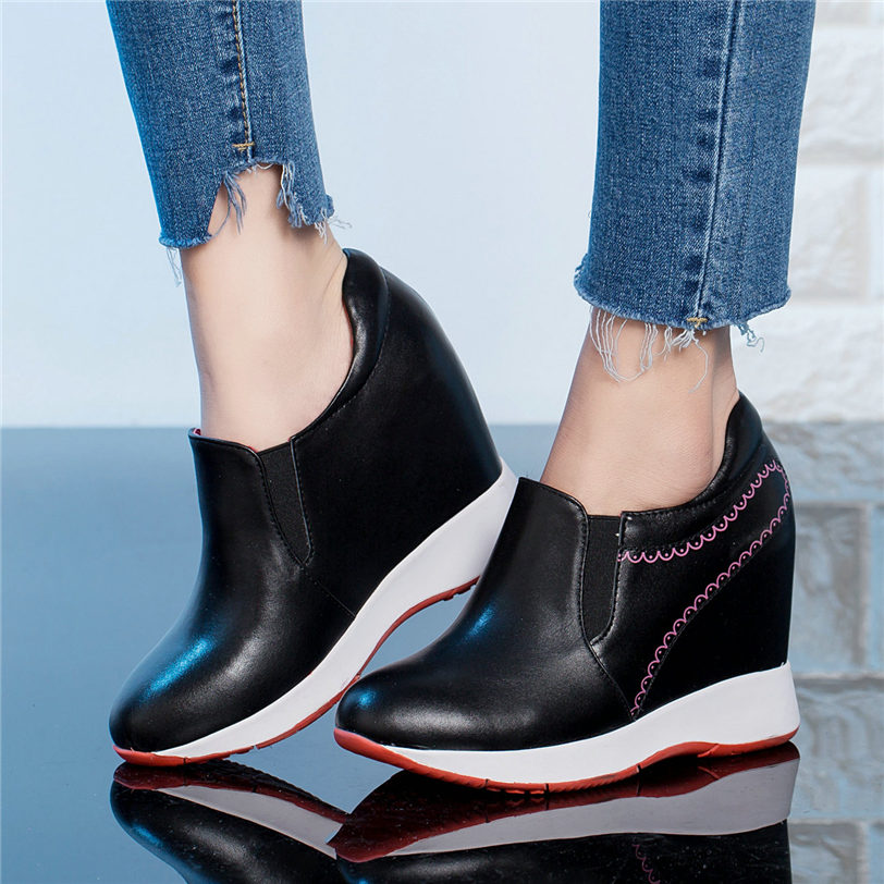 Low Top Trainers Women Genuine Leather Wedges High Heel Ankle Boots Female Slip On Round Toe Platform Pumps Shoes Casual Shoes