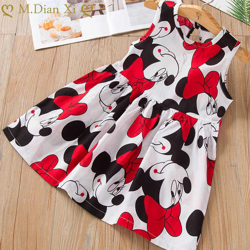 Kids Girls Sleeveless Dress 2-6Years Summer Girls Prined Minnie Dresses Children Clothes Baby Cotton Princess Dress Outfits