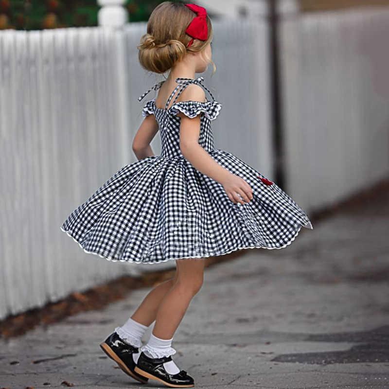 Eachin 女の子ドレスファッションベビーキッズガール半袖オフショルダー a ラインチェック柄プリンセスドレス子供カジュアルなビーチドレス
