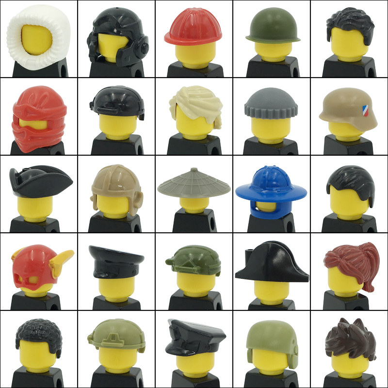 City Figures Head Decoration Accessories Soldier Hat Girl Ponytail Boy Short Hair Ninja Pirate Helmet DIY Blocks MOC Bricks Toys