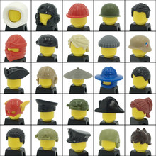 City Figures Head Decoration Accessories Soldier hat Girl Ponytail Boy Short Hair Ninja Pirate Helmet DIY Blocks MOC Bricks Toys(China)
