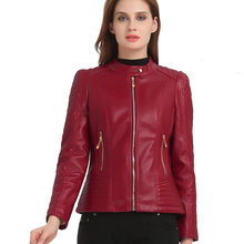 6XL Large Size 70% PU Quality Leather Fashion Motorcycle Jacket Middle-aged Ladies High-end Autumn And Winter