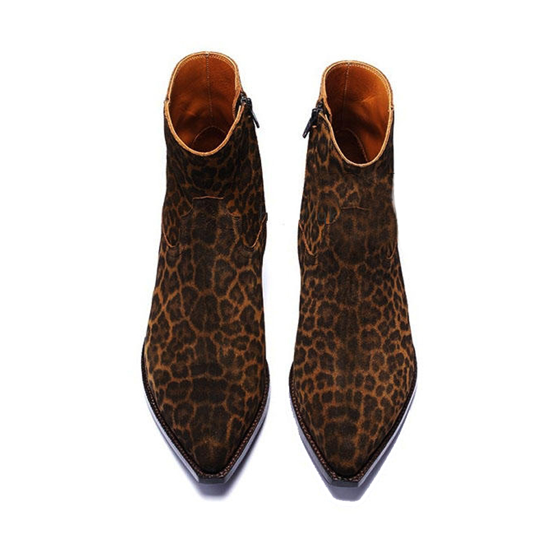 Runway Luxury Brand Men Leopard Printed Chelsea Boots Pointed Toe Cow Suede Cowboy Ankle Boots 2020 Summer Dress Botas Plus Size