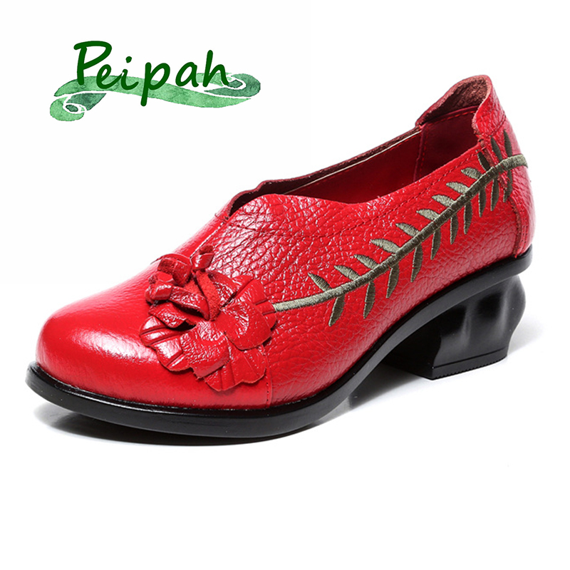 PEIPAH 2019 Genuine Leather Vintage Embroider Handmade Women's Pumps Casual Slip On Ladies Shoes High Heeled Shoes Women