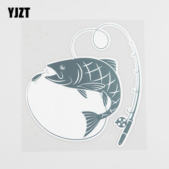 YJZT 13.5CMX14.7CM Individualization Fish Car Sticker Fishing Rod Pvc Decal 6A-0206 image