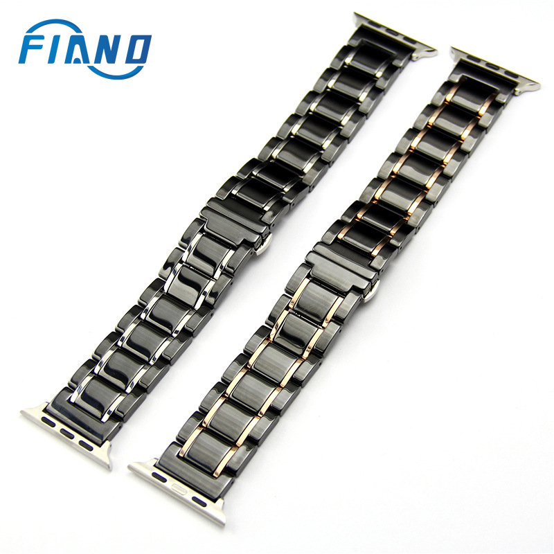 Stainless Steel Ceramic Watch Strap Bracelet for iwatch band 42mm 38mm 44mm 40mm For Apple watch band 5 4 3 2 1