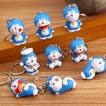 Cartoon Cute Doraemon Keychains 1 set Creative Anime Cat Doraemon Key Chain Pendant For Children Bag Keyring Gifts toys 2020 cartoon cute pikachu keychains anime keyring bell key chain handbag key ring kid toy pendant for women men gifts