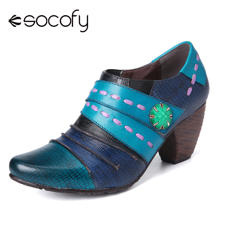 SOCOFY Retro Splicing Multicolors Simple Casual Style Genuine Leather Slip On Pumps Elegant Shoes Women Shoes Botas Mujer 2020