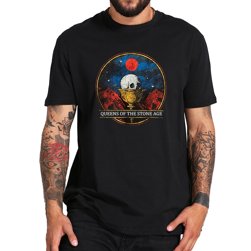 EU Size 100% Cotton T Shirt Queens Of The Stone Age Rock Band Chalice Tshirt Short Sleeve High Quality Tops Tee