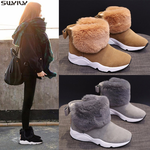 Image 2 - SWYIVY PU Snow Booties Wedge Shoes Woman Winter Boots 2019 Warm Casual Slip On Ladies Shoe Ankle Boots For Women Shoes Platform