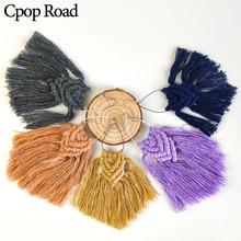 Cpop New Boho Handmade Weave Long Macrame Earring Ethnic Feather Fringe Tassel Bridesmaid Gift Women Accessories Jewelry