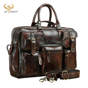 Image 1 - Original leather Men Fashion Handbag Business Briefcase Commercia Document Laptop Case Design Male Attache Portfolio Bag 3061 bu