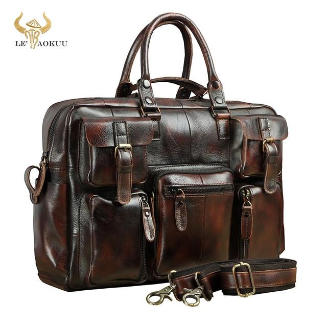 Original leather Men Fashion Handbag Business Briefcase Commercia Document Laptop Case Design Male Attache Portfolio Bag 3061 bu